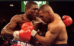 Bruno uses his patented 'holding' attack Vs Tyson
